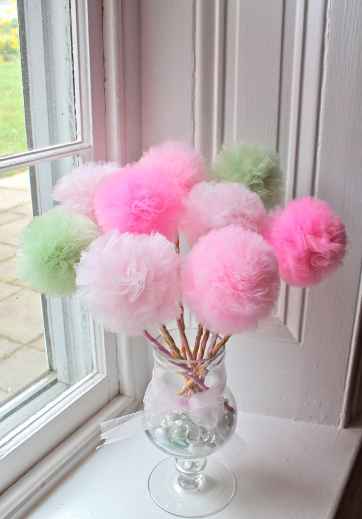 Sugar Plum Fairy Princess Party Wands, Pink and Green Pom Pom Decorations -(10) by prettimini on Etsy