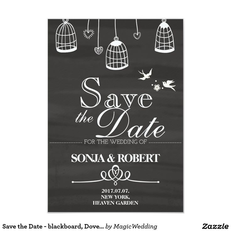 Save the Date - blackboard, Doves, Cage Card