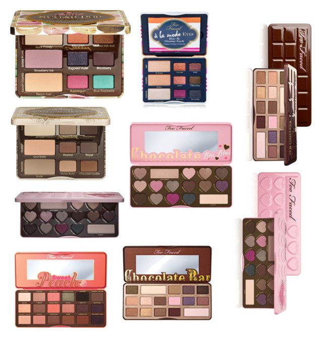 """Two faced eyeshadow pallets"" by avatheunicorn1212 ❤ liked on Polyvore featuring beauty and Too Faced Cosmetics"