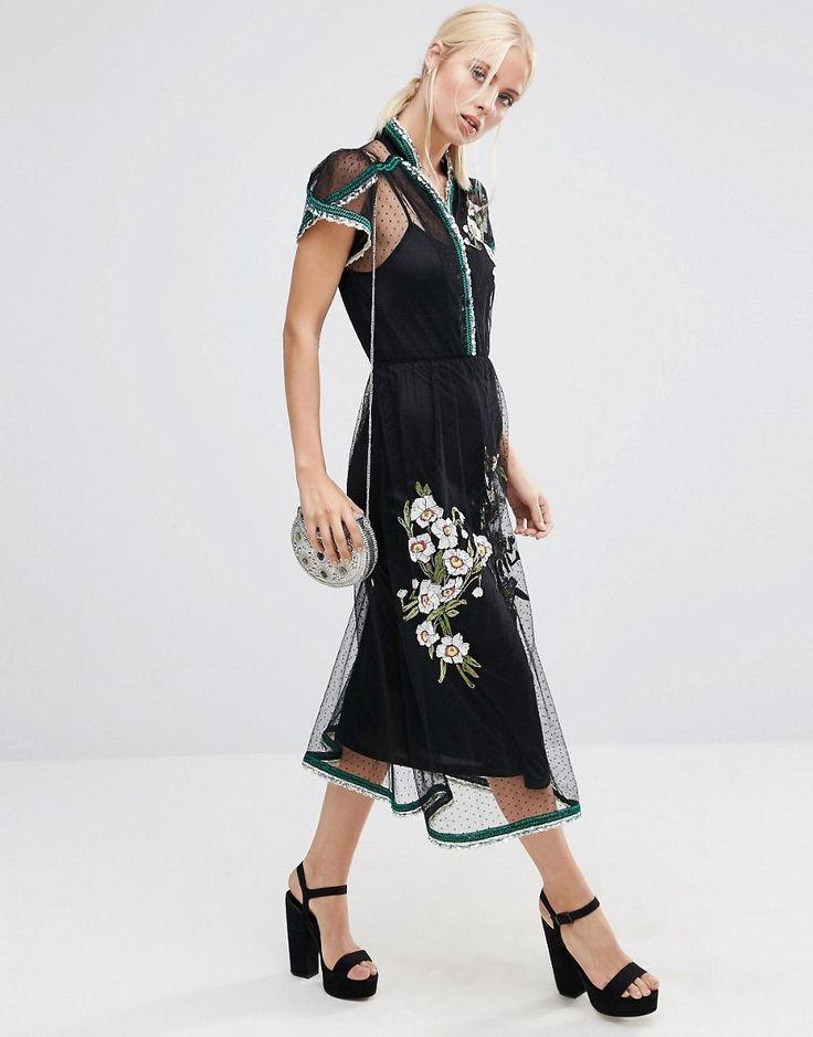 Image 4 ofASOS PREMIUM Spot Mesh Embroidered Dress with Sequin Trim