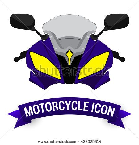 Front View Blue Motor Bike Icon / Motorcycle Badges / Motorcycle Design