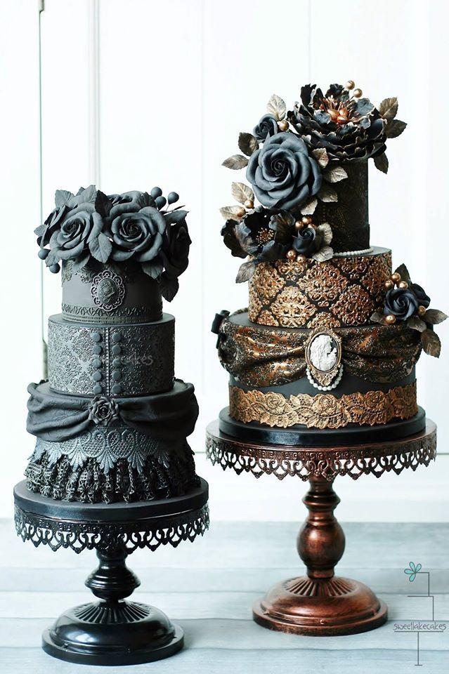 Perfection and drama united on these vintage wedding cakes - Mucho drama y perfección en estas tortas de casamiento vintage confeccionadas por Sweetlake Cake