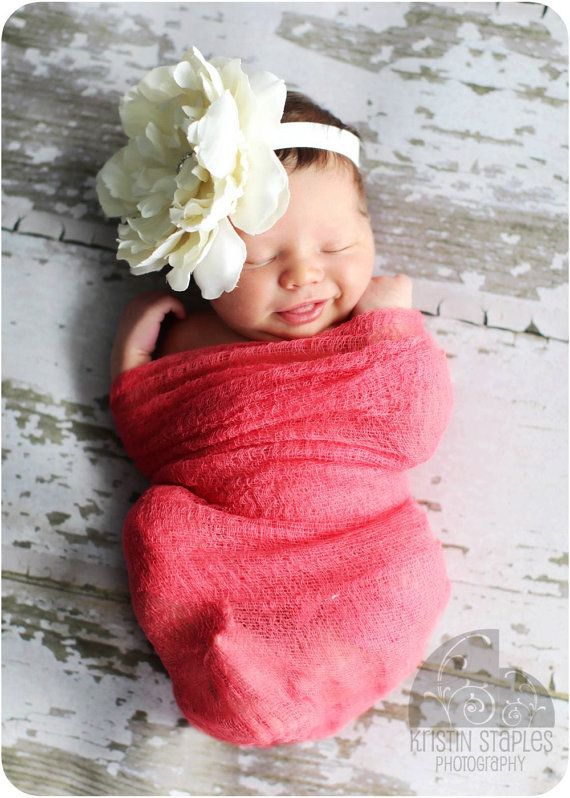 Baby girl newborn photo -- pink muslin wrap, flower headband & wood