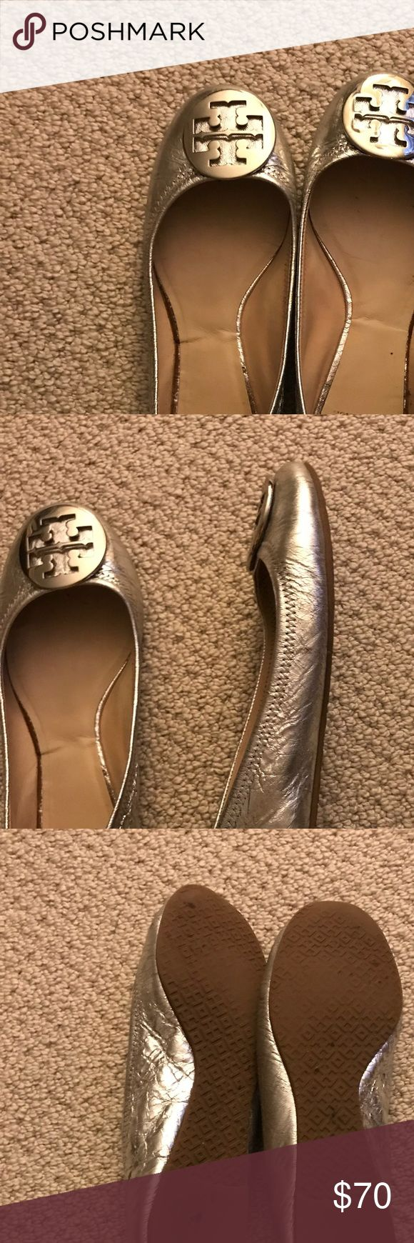 Tory Burch silver reva size 9 New style reva flats (with no scrunchy back - much more comfortable!) super cute crackled silver leather. Worn a few times with a few scratches on hardware. Not noticeable when worn! Leather is in great shape! Tory Burch Shoes Flats & Loafers