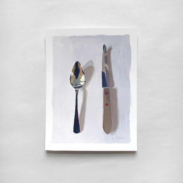"Small Still Life - Original Art - ""Spoon and Knife"" #spreadyourflavour"
