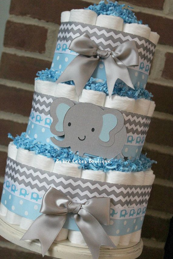 3 Tier Blue and Gray Elephant Diaper Cake by BabeeCakesBoutique