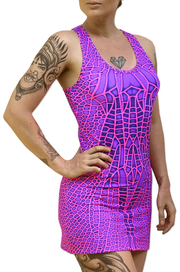 Tank Gurl : Pink Dragonfly  Fully printed racerback mini-dress / long vest.  UV Active !  Super slinky stretch fabric (95% viscose, 5% lycra).  Artwork by Space Tribe