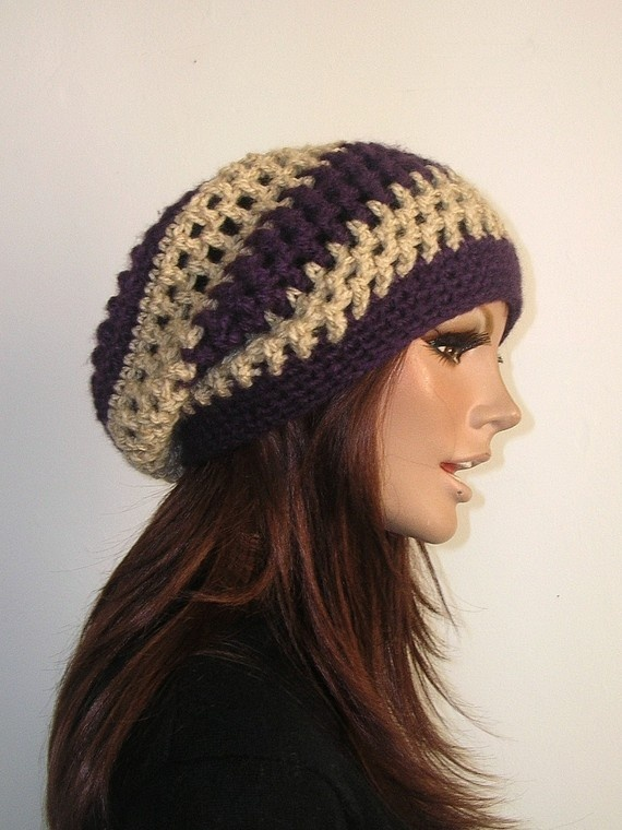 Crochet Slouchy Rasta Hat Hippie Snood Beret by ...