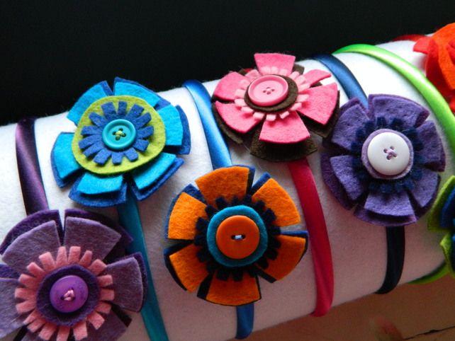 Felt flower and button hair band.