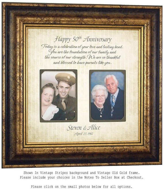 50th Anniversary Gifts Parents By PhotoFrameOriginals