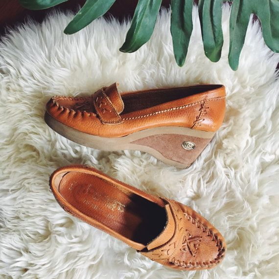 70's Leather Loafers, 7 1/2 BUSKENS Brown Leather + Suede Boho Hippie Wedge Loafers, 1970's Platform Wedges, Women's Penny Loafers by SurfandtheCity