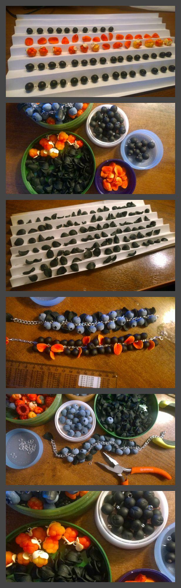 #вечер #творчество #хобби #полимернаяглина #ручнаяработа #ягоды #черника #голубика #polymerclay #fimo #fimoclay #premo #sculpey #jewelry #blueberries #berry #bracelet #summer #foodjewelry #handmade #etsy #процесс #работа