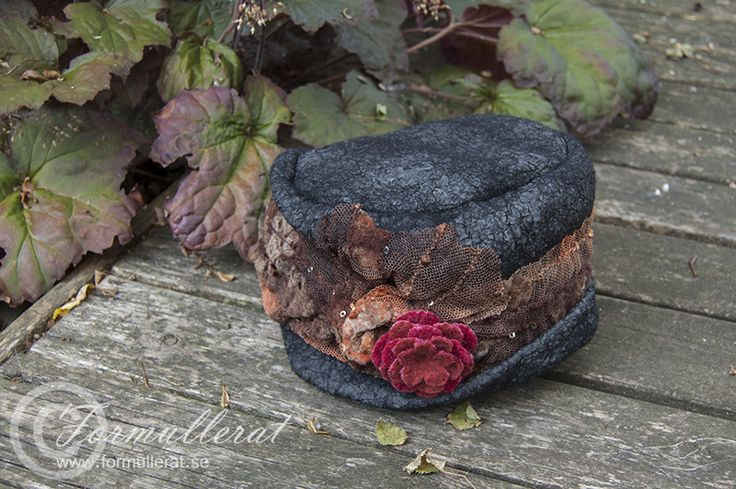 Nuno felted silk , wool and lace hat with rose...