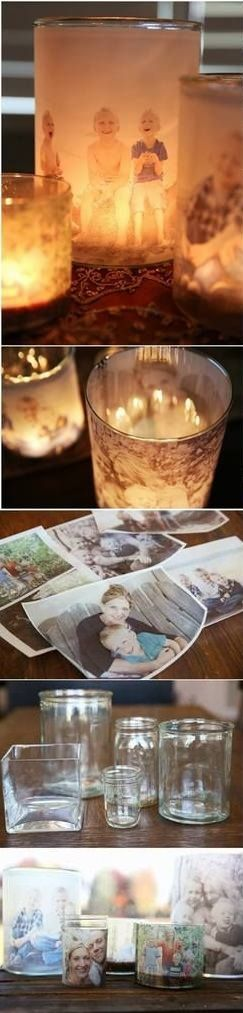 DIY Home Projects – Family Photo Luminaries. We could use old pics from previous reunions, and aunts and uncles that have passed.