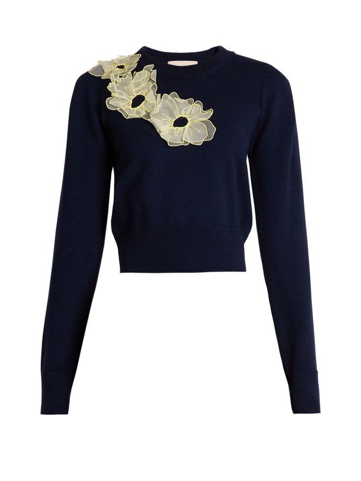 ROKSANDA  Nobuya floral-appliqué wool-knit cropped sweater