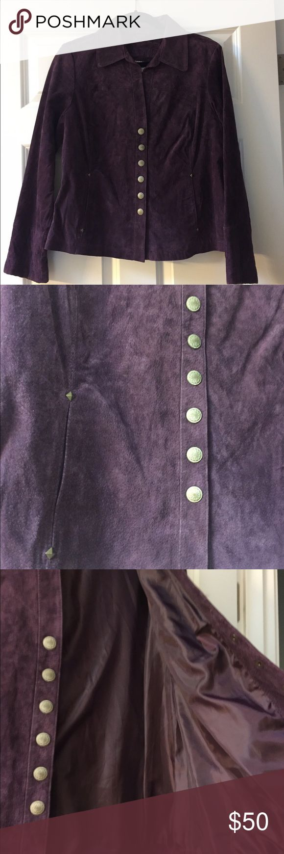 Ami Purple Leather Jacket Beautiful purple leather jacket with fun detailing! This has pop button closures. Ami Jackets & Coats