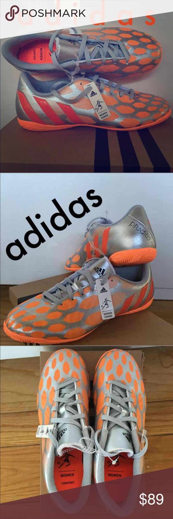 NWT Adidas Predito Soccer Football Boots Brand new with tags and incorrect box.   Metallic Silver & Orange   Women's Size 8  Retail $89 Brisette #11 Adidas Shoes Athletic Shoes