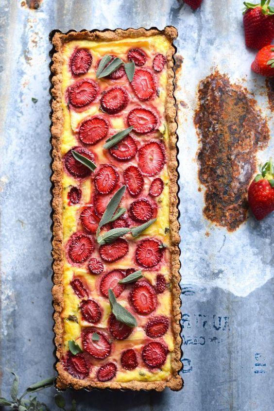 Gluten free hazelnut crusted strawberry, sage and brie tart