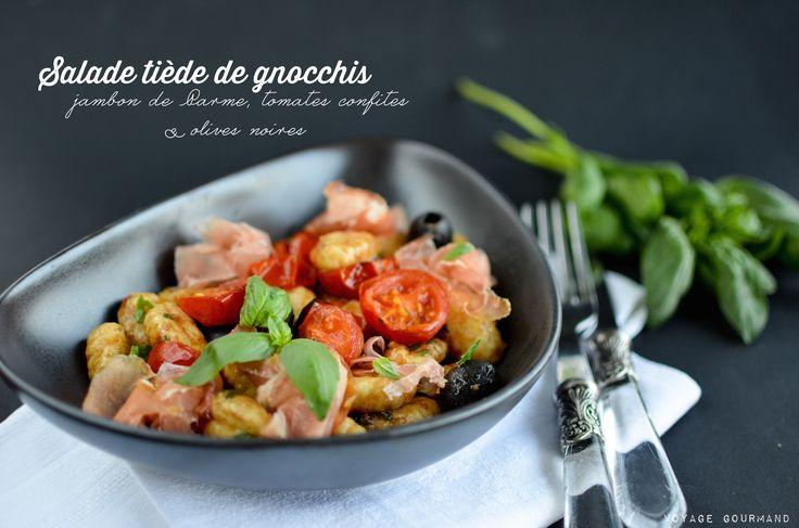 Salade de gnocchis au jambon de Parme et tomates confites