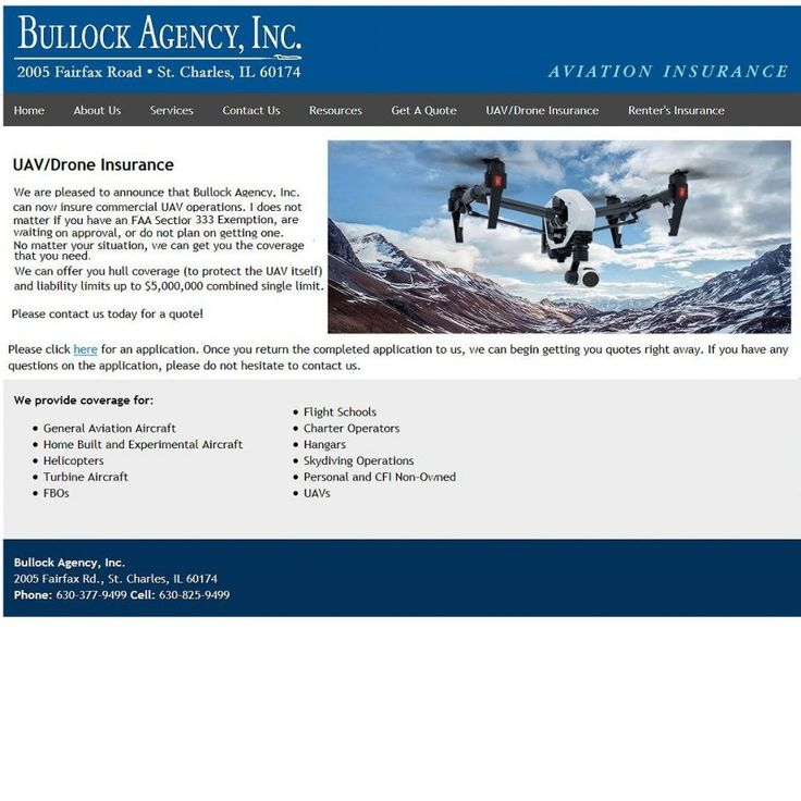 Insurance for Unmanned Aerial Vehicles and Drones from a family owned aviation insurance provider. The Bullock Agency, Inc offers specialist insurance for aviation related risks and commercial UAV operations...