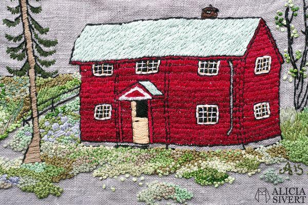 """Farfarstugan"" (detail), embroidery by Alicia Sivertsson, 2015."