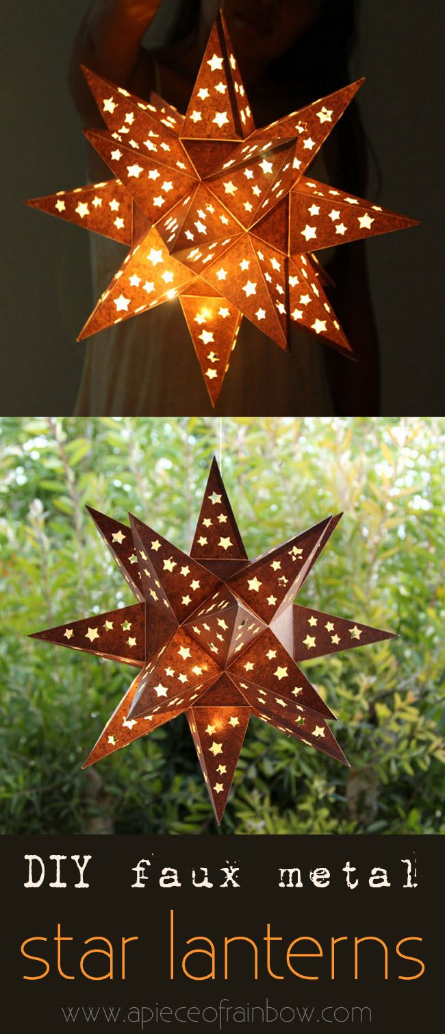 """This enchanting and rusty """"metal"""" star lantern is made with... paper! Easy tutorial with free printable template to make your own! - A Piece Of Rainbow"""