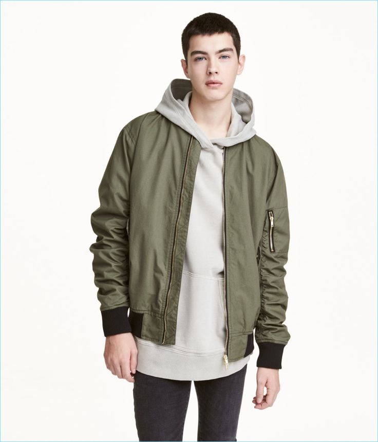 Layer up with a hoodie and H&M Divided's bomber jacket in khaki green.