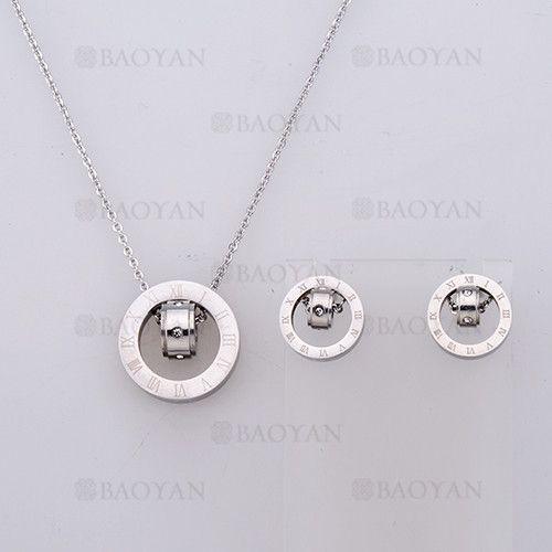 collar y aretes sencilla con numero romano de plateado en acero-SSNEG804083