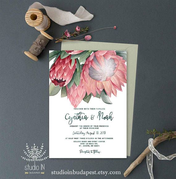 Printable Protea Wedding Invitation Protea Invitation Floral Protea Wedding Floral Invitation Wedding Invitations