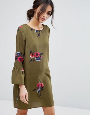 Vero Moda Floral Print Peplum Sleeve Shift Dress