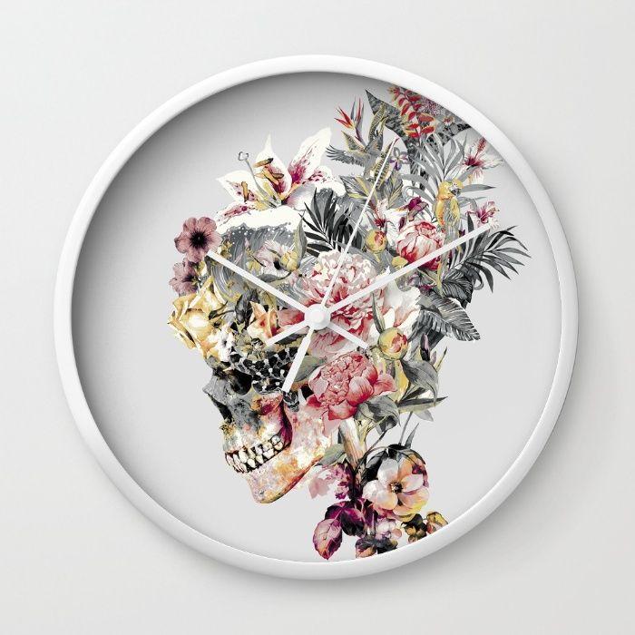 SKULL XII Wall #Clock #skull #collage #exotic #birds #art #rizapeker #home #homedecor