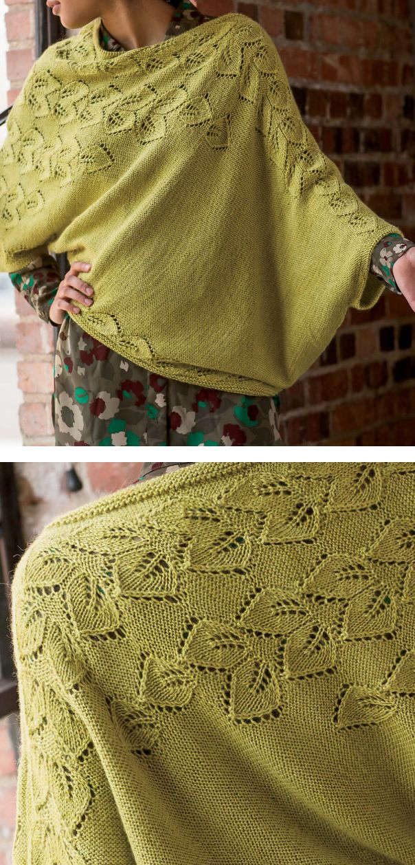 "Knitting Pattern for Botanic Pullover Poncho - Lace leaves spread over the shoulders down the sleeves and around the hem of this poncho top with armhole sleeves. 33 1/2 (38, 42, 46 1/2, 50 1/2)"" lower edging circumference. Designed by by Moon Eldridge"