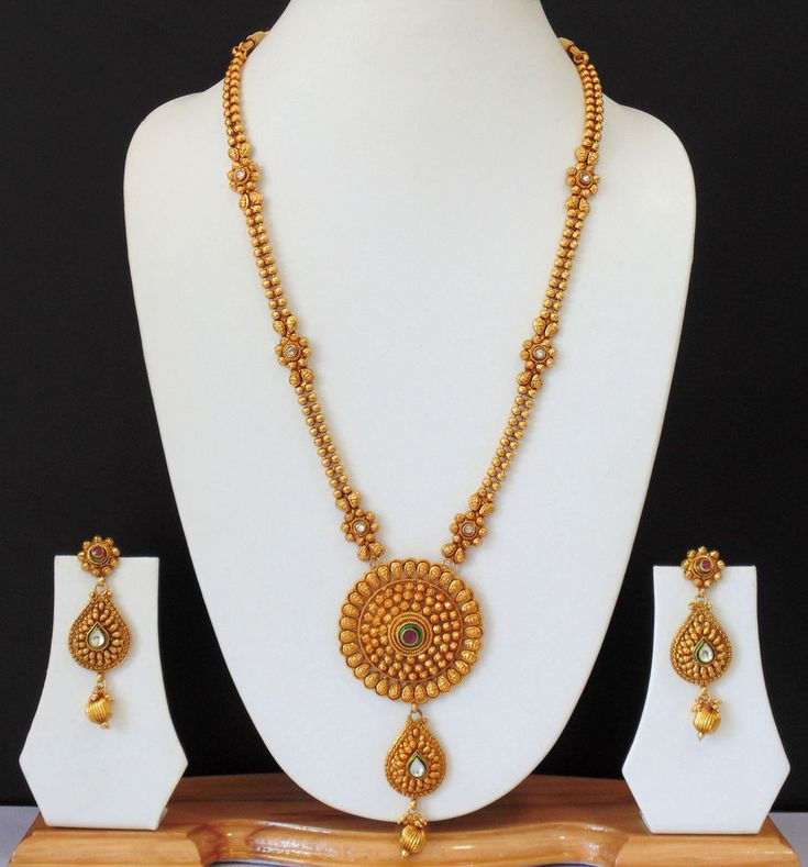 Ethnic Indian Bridial Jewelry Long Necklace Polki Gold Plated 22k Earrings Set #Indian