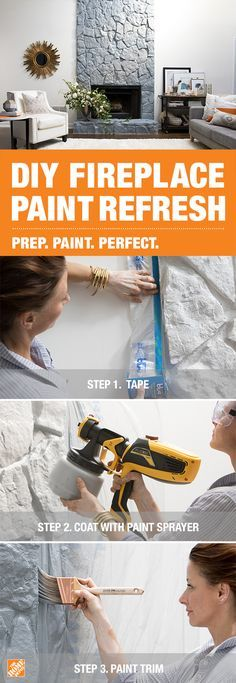To refresh your fireplace with paint, prep the area with a 3M ScotchBlue Pre-Taped Painter's Plastic Drop Cloth before using a Wagner handheld sprayer to apply BEHR Premium Plus paint in Moonquake. Click to discover more ways to prep and paint your home perfectly.