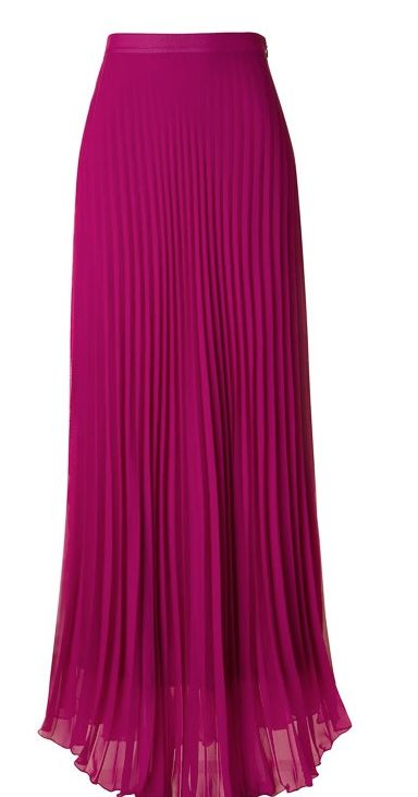 Pleated chiffon side zipper maxi skirt with full lining 100% Polyester Made in USA W : 12.5'' L : 43''