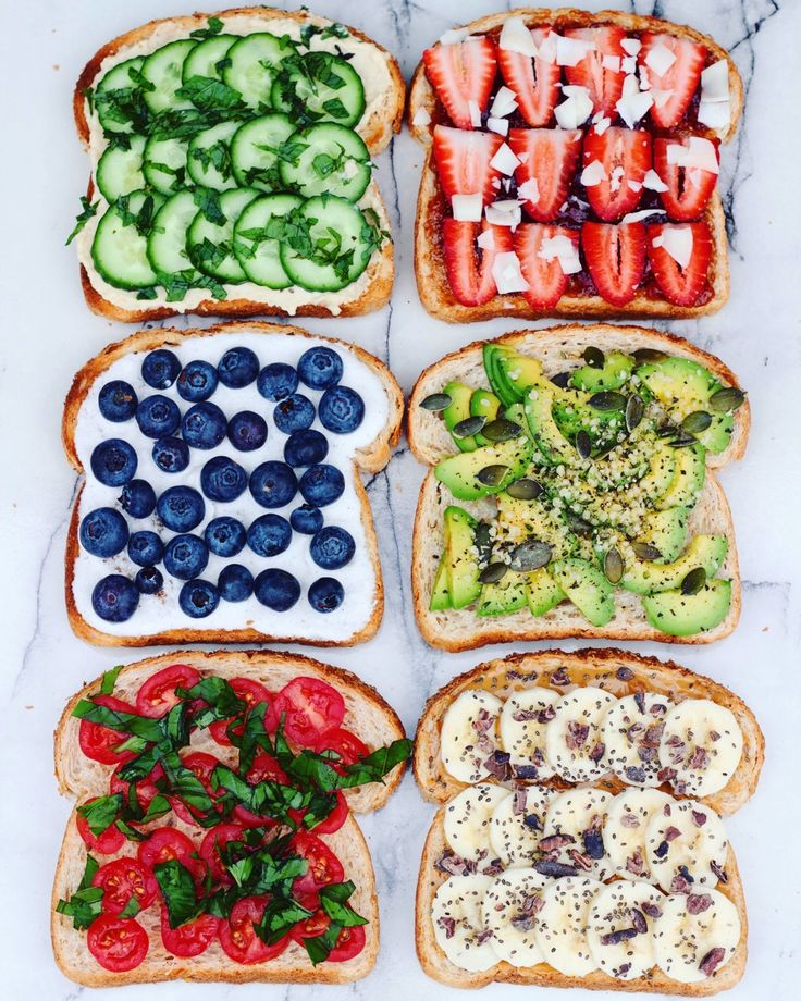 "thrivingonplants: ""Toast parties are the best kinda parties  ✖Hummus, cucumber, mint (favourite one, seriously try it… It's amazing) ✖Raspberry jam, strawberries, coconut flakes ✖Coconut whipped..."