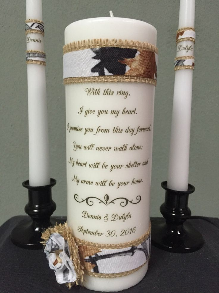 Personalized Jute Burlap Rustic Wedding Unity Candle Set, Camo, True Timber  White Snow Camouflage