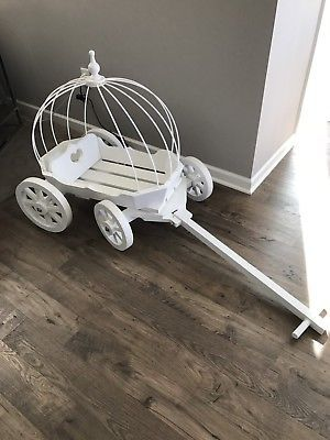 Princess Carriage White Wood Wedding Wagon Flower Or Ring Bear Rustic Style