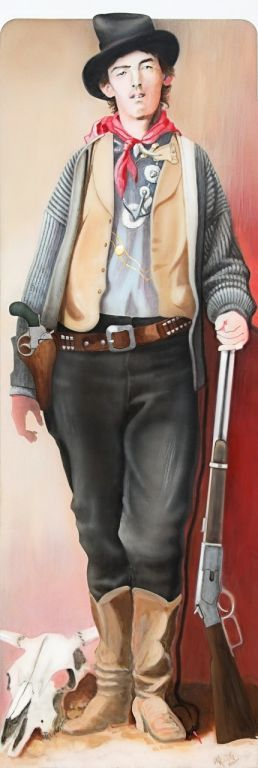 "'Billy the Kid', full figure Size, 18"" by 54"" Year, 2000 Medium: Acrylic on Aluminum in the Lincoln Museum, NM  ( 1 / 5 )"