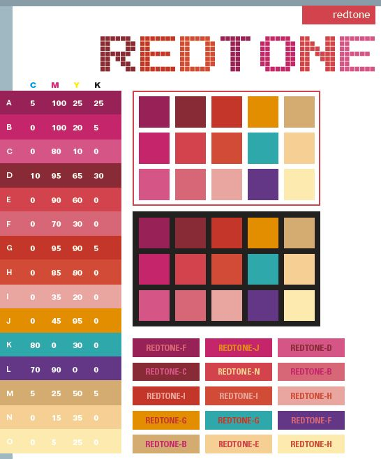Red tone: Description:  In general, the Redtone contains various shades of red, in contrast with striking orange, green, and purple. Meanings:  Loving, stimulating, hot, sexy, lush, passionate  Implications:  Exciting, attractive, daring, authoritative, forceful