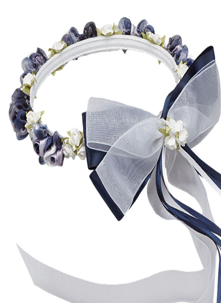 Navy Blue Floral Crown Wreath Handmade With Silk Flowers