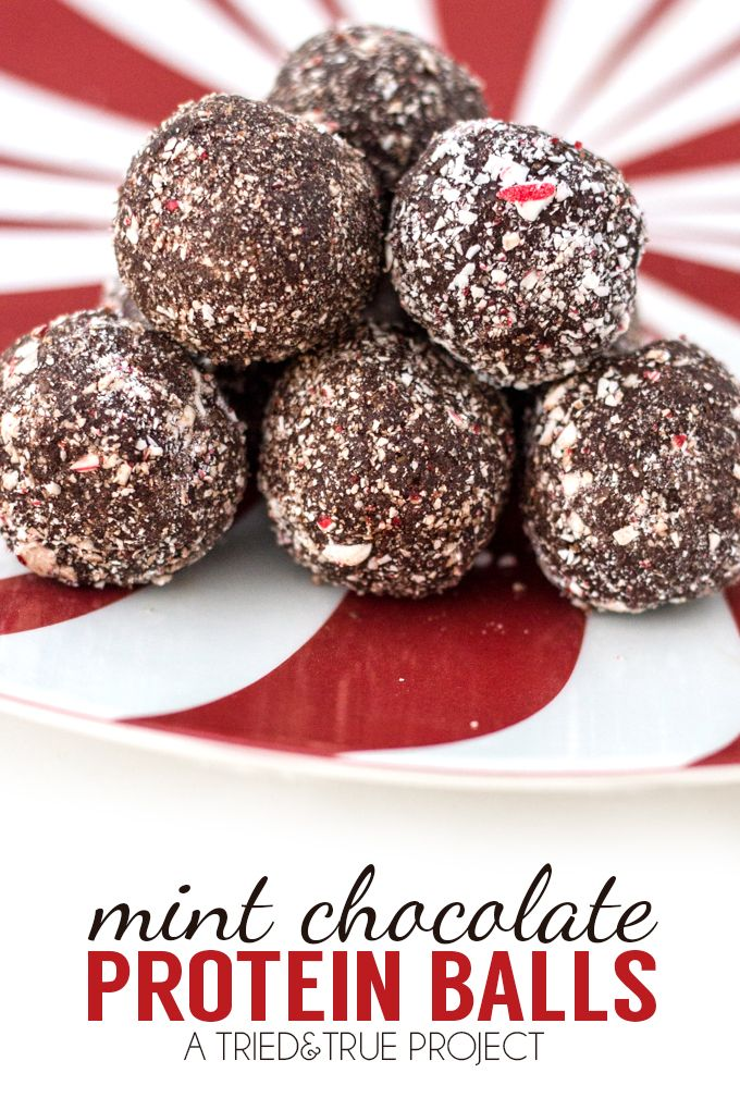 Peppermint Chocolate Protein Balls that are vegan, raw, gluten-free, paleo-friendly, low sugar, and delicious! A great way to add an extra boost of protein!