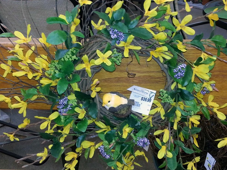 spring forsythia wreath custom designed made by stauffers