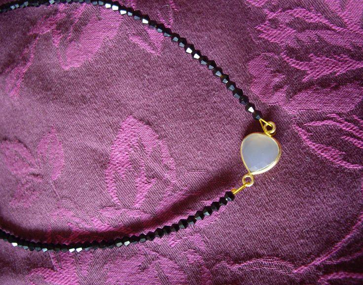 14104_1 Κολιέ με ροζ quartz  Necklace with pink quartz