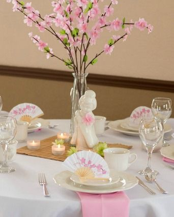 Table at a Cherry Blossom Wedding Party!  See more party ideas at CatchMyParty.com!