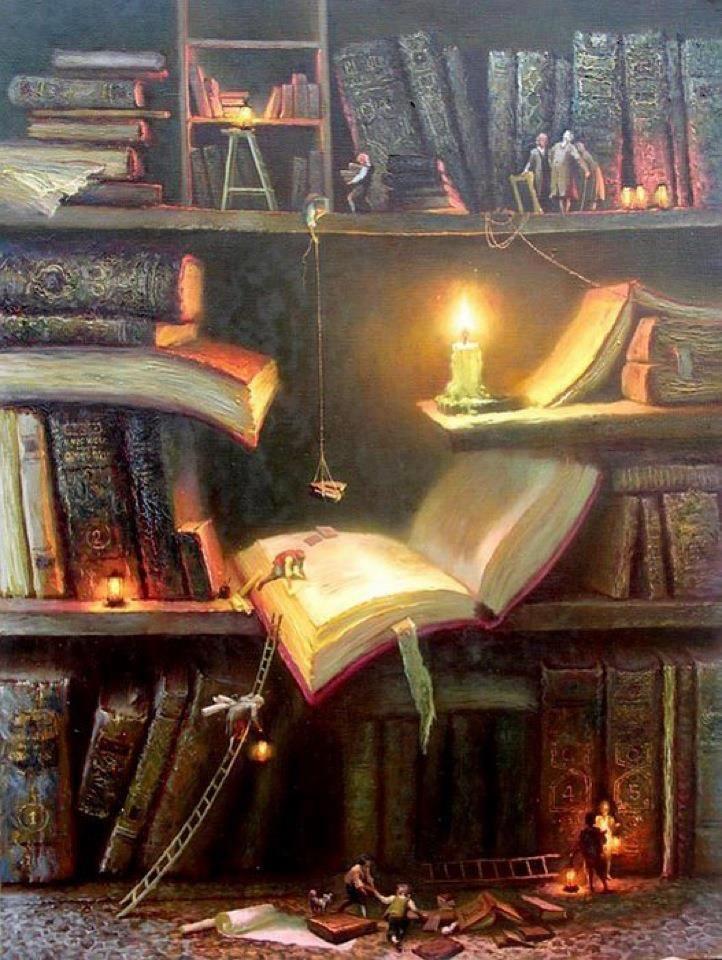 Livros à luz de velas