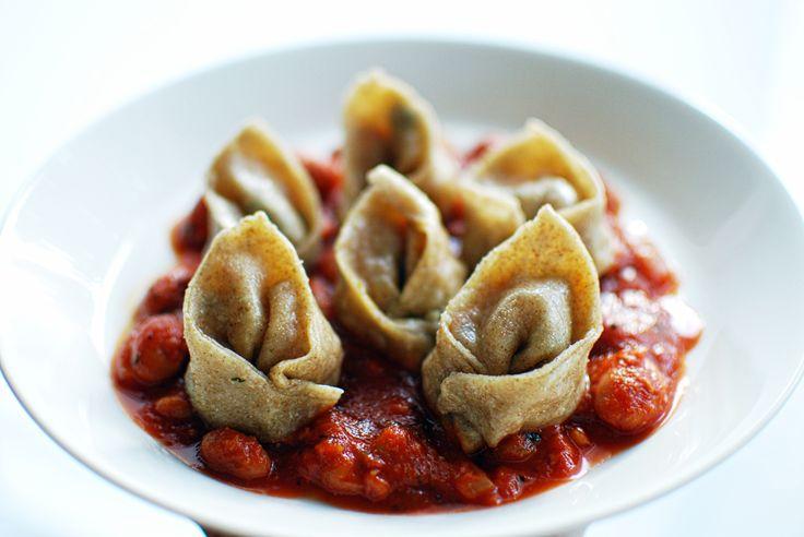 Vegan rye dumplings with vegetable filling and bean sauce   A House of Lemons