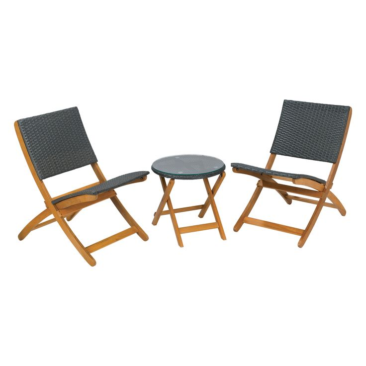 Marquee 3 Piece Timber Wicker Folding Setting