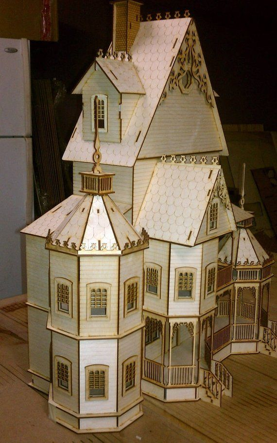 1 24 Scale Wood Gothic Victorian Dollhouse Kit Ashley Series Doma