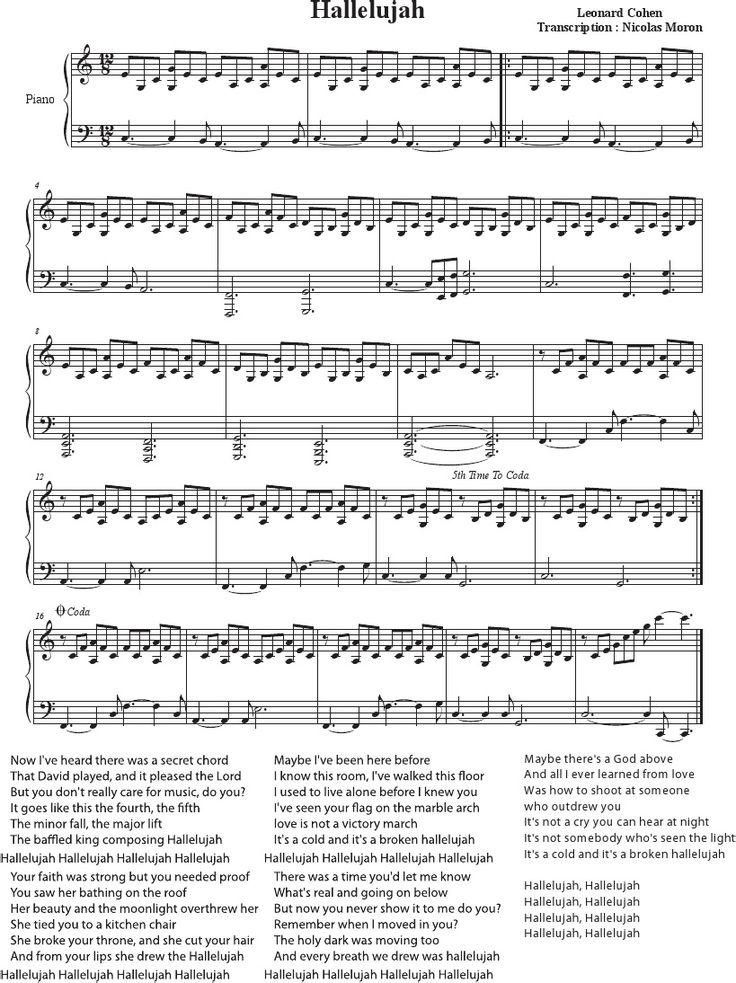 Hallelujah - Cohen - Rufus Wainwright - Shrek Best - Sheet Music Piano - Lyrics - Partition